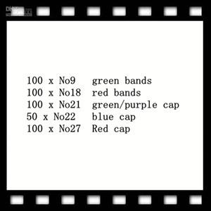 100 ensembles No.9 bandes vertes 100 ensembles No-18 bande rouge 100pcs No 21 casquettes vert / violet 50 x No.22 casquette bleue 100 x No27 Chapeaux rouges