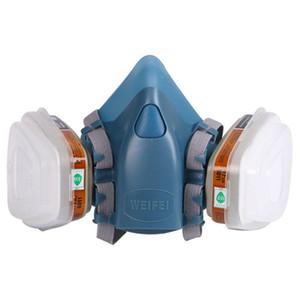 Completa de mascarillas del respirador de la pintura de la cara pulverización de gas mascarilla antigás de máscaras corporales químicos Filtro de polvo de pintura de hogar varón