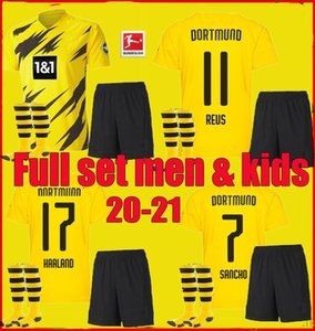 Borussia 2020 2021 Yetişkin erkekler Çocuklar Dortmund HAALAND futbol formaları 20 21 TEHLİKESİ Götze REUS Witsel Francisco Alcácer Tam set futbol forması kiti