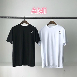 19ss designer france tide brand mens and women fashion t-shirt AMI summer short-sleeve embroidery rainbow gradient love loose cotton