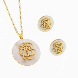 Uh Nur Wenige Lager Schneller Verkauf Sun Gold Farbe Edelstahl Gold Silber Anhänger Halskette Blumenfrauen Schmuck-Set mit Kette osos