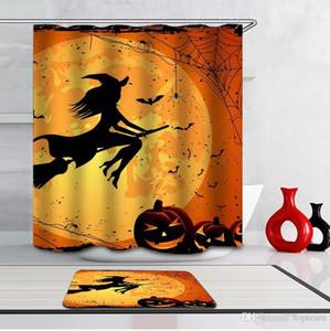 Halloween 3D 165 * 180cm Poliban 6 Designs Pumpkin Witch Cat Castelo cortina de chuveiro do tapete DHL frete grátis W95955