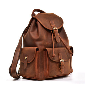 High Quality Genuine Leather Backpack Vintage College School Bookbag 14 Inch Laptop Bag Travel Rucksack (Brown)