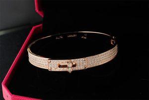 Fashion Full Diamond Bangles Unisex Luxury Design Classic Pulseras Gold Rose Silver Bangle Fashion 4 Filas Diamond Bracelets with Box