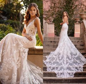 2020 sirena vestidos de novia de encaje spaghetti straps Apliques Playa Vestidos de novia por encargo de la espalda abierta barrer de tren Robe de mariée