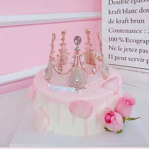 최고의 판매 수제 레이스 여왕 여왕 크라운 복고풍 고귀한 크리스탈 신부 크라운 케이크 꽃 다양한 장식 크라운