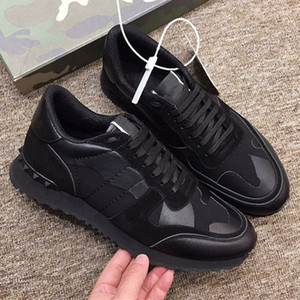 toptan Erkek Kadın Tasarımcı Ayakkabı Gerçek Deri Lüks CAMOUFLAGE Marka Ayakkabı Moda Lastik Ucuz beyaz ayakkabılar 19 renk kapalı damızlık sneaker