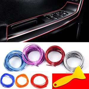5 m / pacote Interior Do Carro Decorativo 3D Auto Marca Rosca Adesivos Decalques Styling Chrome Guarnição Tira Car-Styling Decoração XD21030