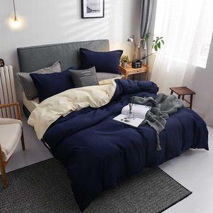 Winter new Dark blue beige double color bedding set bed linen flat bed sheet duvet cover pillowcase queen full single 3   4pcs