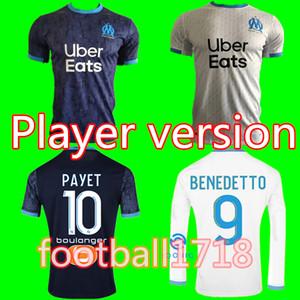 Player version OM Olympique de Marseille Maillot de football 2020 2021 Marseille Maillot de foot BENEDETTO PAYET L GUSTAVO 20 21 THAUVIN chemises