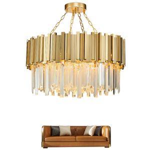 Lámpara de cristal moderna 2019 araña para sala de estar de lujo de oro redondo de acero inoxidable cadena de lámparas de iluminación