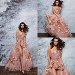 2019 Paolo Sebastian Prom Dresses One Shoulder A Line Lace 3D Floral Long Sleeve Evening Dress Sweep Train Custom Made Formal Party Gowns