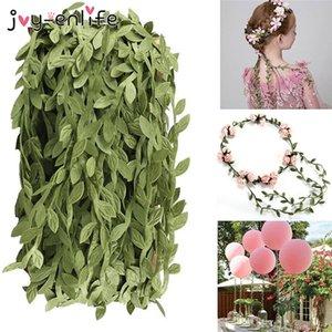 Home & Garden 10m Silk Cloth Leaf-Shaped Artificial Plants Green Ivy Leaves Lace Ribbon Wedding Decoration DIY Wreath Fake Flower Wall Decor