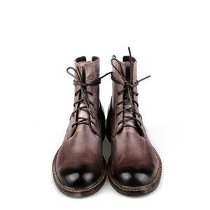British Ankle Boots Men Brand Lace-Up Cow Leather Cowboy Boots Winter Vintage Black Brown Dress Boots Office Zapatos De Hombre