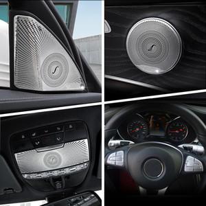 메르세데스 벤츠 C 클래스 GLC W205 X253 스타일링에 대한 자동차 기어 시프트 에어 컨디셔닝 CD 패널 도어 팔걸이 커버 트림 스티커 자동차 액세서리