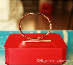 Titanio Acciaio vite Amore braccialetti dei braccialetti per le donne gli uomini cacciavite braccialetto Femme con 4 cristallo Pulseira Feminina Masculina Jwelry