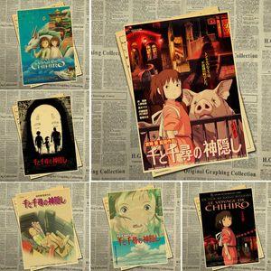Ghibli di Miyazaki Hayao animazione Spirited Away manifesto Retro Poster vintage della decorazione della parete Per la casa Bar Cafe forkid camera