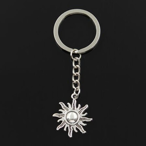 free shipping Fashion 20pcs lot Key Ring Keychain Jewelry Silver Plated sun Charms Key Accessories