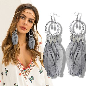 Vintage Indian Summer Large Dream Catcher Grey Feather Silver Moon Hoop Dangle Coral Turkey Blue Stone