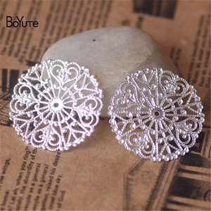 BoYuTe (50 Pieces / Lot) 31MM Metal Brass Stamping Filigree Flower Findings DIY 핸드 메이드 쥬얼리 액세서리