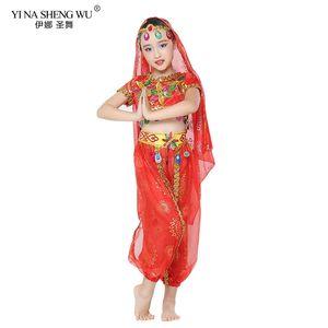 أزياء رقص البطن للأطفال الموضة الجديدة 3 بي سي سي Set Oriental Dance Costes For Girls Egyptian Bollywood Belly Dancing