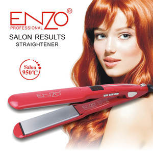 ENZO Professional Ceramic Tourmaline Ionic Flat Iron LCD Hair Straightener Straightens & Curls with Adjustable Temp