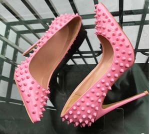 2019 neue Art schwarze Niete Pink Women's Red Bottom Schuhe mit hohen Absätzen 8cm 12cm 10cm Größe 44 Cusp Fine Heel Single Schuhe Nightclub Braut