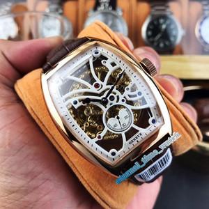 Alta qualità UOMO COLLEZIONE 8880 B S6 SQT D Skeleton Dial cassa in oro rosa meccanico automatico Mens Watch cinturino in pelle Orologi sportivi