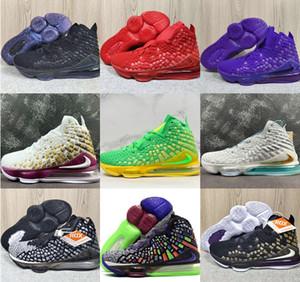 Yüksek kaliteli Lebron XVII EP Bron 2K basketbol ayakkabıları LBJ17 James Geleceğin Hava Bukalemun In The Arena Üniversitesi Kırmızı HFR parça eğitmen spor ayakkabısı