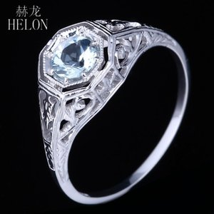 Helon Solid 10K White Gold Flawless rotonda 0.38ct 100% gioielli originali Acquamarina Naturale cerimonia nuziale di aggancio anello dell'annata Donne