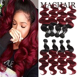 Pre-coloured 1B / 99J 번들 Brazilian Body Wave Hair 옴 브럴 인간 헤어 번들 1b 99j 부르고뉴 블랙 Red Ombre Brizilian Hair 1b / 27