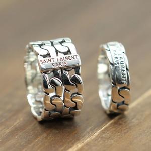 Gümüş 925 Avrupa ve Amerikan tarzı ajur dokuma çift halka retro eski ve basit gelgit bölüm halka KKA4784