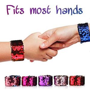 Русалка браслет, браслет шлепка, 2-цветного Реверсивного ШАРМ блестки пощечины браслета Magic успокаивающих браслеты пощечины браслеты дети