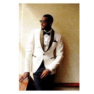 New Ivory Men Tuxedos Groom Wedding Custom Made Shawl Collar Mens Prom Tuxedos Suits Bridegroom (Jacket+Pants+Bow Tie+Handkerchief)