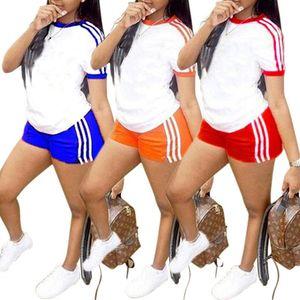 Frauen Designer Marke zweiteilige Set Fitness Running Trainingsanzug T-Shirt Rundhalsausschnitt Shorts gestreift Bodycon Leggings Sommerkleidung plus Größe 64