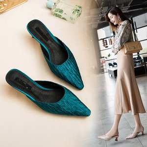 fashion summer new mid-heeled cool women half slippers fashion women's shoes sexy2020 New