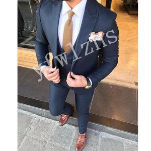 Handsome One Button Groomsmen Peak Lapel Groom Tuxedos Men Suits Wedding Prom Dinner Best Man Blazer(Jacket+Pants+Tie+Vest) W117