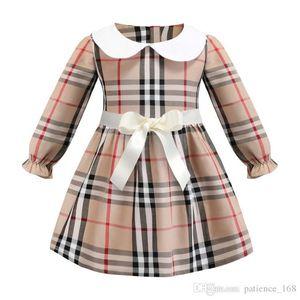 robe à carreaux 2019 INS nouvelle arrivée styles de printemps filles enfants robe manches longues col blanc poupée robe en coton de haute qualité 2 couleurs bateau libre