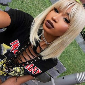 613 Lace Front Human Hair Wigs With Bangs Straight Colorful Bob Cut Wig Short 150% Honey Blonde Wigs Full Remy Hair