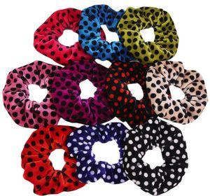 Velvet Dot Scrunchies Girls Elastic Hair Band Rope Tie Women Flannel Scrunchies Velvet Ponytail Holder Hairband Accessories GGA2761