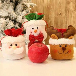 15 * 18cm Weihnachtszucker Geschenk-Taschen Tunnelzug Snack-Beutel Apple-Packing-Abdeckungs-Beutel-Weihnachtsparty-hängende Dekorationen