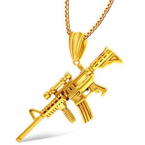 Подвесные Ожерелья Огнестрельного Hip Hop титановый стал Sniper Rifle Hip Hop Bling цепи ювелирных изделия Мужчина ожерелье Бесплатной доставка