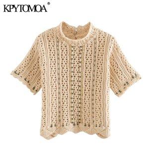 KPYTOMOA Donne 2020 moda Increspato Crochet Lavorato A Maglia Camicette Vintage Manica Corta Scava Fuori Camicie Femminili Blusas chic top