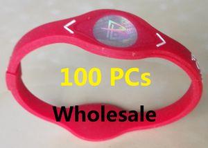 DHL gratuit 100 Pcs Power Energy Bracelet Bangles Femmes Hommes Sport Bandeaux Équilibre Ion thérapie magnétique silicone Bangles sport énergie électrique