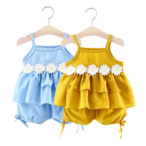 2020 A complete set summer new sleeveless sling soft and cute breathable girl baby suit With Fashion Yellow and Blue Color