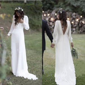 Bohème blanc robes de mariée col en V Backless balayage train en mousseline de soie plage Country Garden Robes de mariée robe de novia Plus Size Cheap __gVirt_NP_NN_NNPS<__