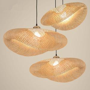 Pendentif en bambou Nordic LED Lumières d'art moderne Bois de cuisine Pendentif Lampe suspension Accueil Salle à manger Intérieur Lampe suspendue