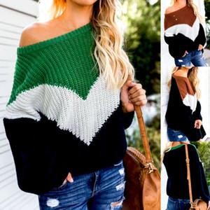 Caliente de la moda de las mujeres del suéter del invierno de manga larga a rayas del hombro suéter de punto grueso suéter de puente Tops