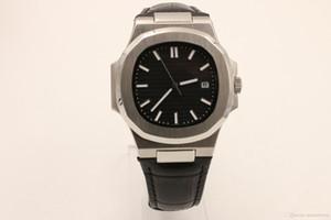 NOVA venda quente 5711 1A-010 Mens Watch Movimento Automático Homens Inoxidável Nautilus pulseira De Couro transparente homem relógios (Black Dial)