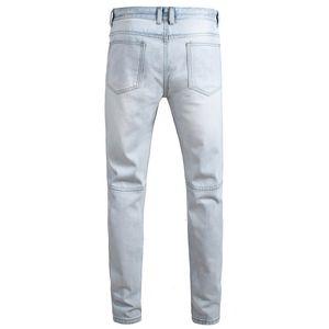 Homens novos Jeans Preto Lavado Light Blue Big Hole longo Blue Jeans descorados Hip Hop calças calças lápis por Homem
